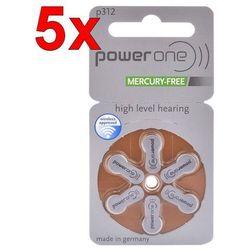 30 x baterie do aparatów słuchowych Power One Varta 312 MF