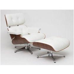 Fotel Vip z podnóżkiem biały/walnut/srebrna baza