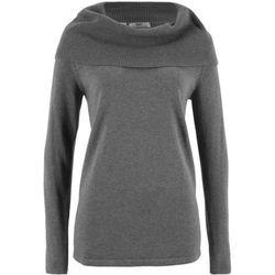 Sweter z golfem, długi rękaw bonprix szary melanż