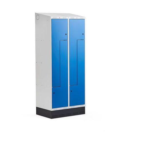 Szafki do przebieralni, Szafka ubraniowa typu Z, CLASSIC, cokół, 2 moduły, 4 drzwi, 2050x800x550 mm, niebieski