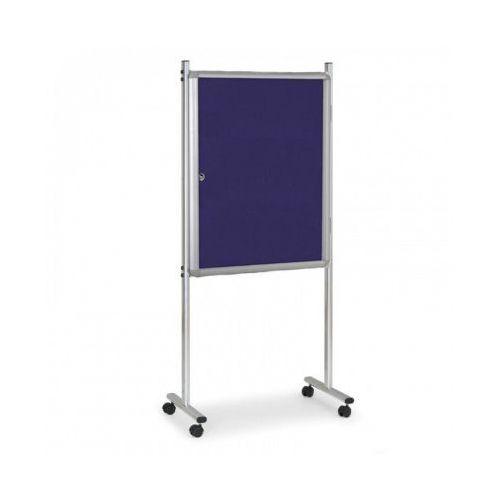 Gabloty reklamowe, Gablota na stojaku, tekstylna, niebieska, jednostronna, z kółkami