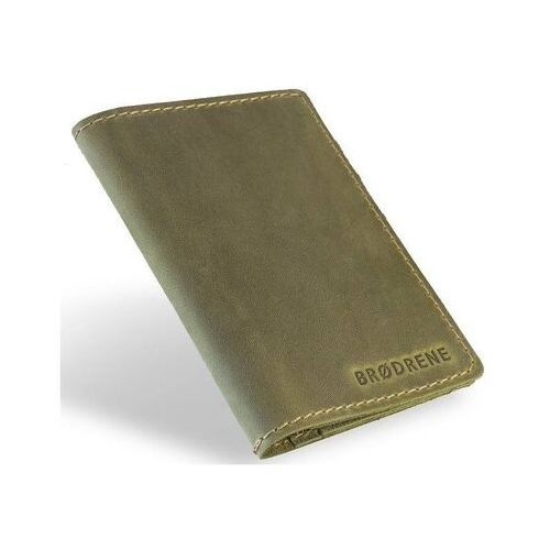 Portfele i portmonetki, Slim wallet brodrene sw05 super cienki portfel ze skóry zielony