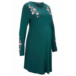 Sukienka ciążowa z dżerseju bonprix niebieskozielony w kwiaty