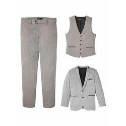 Garnitur 3-częściowy: marynarka + spodnie + kamizelka bonprix jasnoszary melanż
