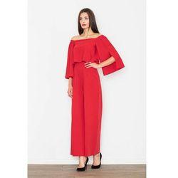 Czerwony elegancki kombinezon 2w1 z odkrytymi ramionami