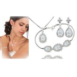 Kpl886 komplet ślubny, biżuteria ślubna z cyrkoniami b599/812 k599/565 n599/814