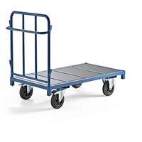 Wózki widłowe i paletowe, Wózek platformowy, 1300x700 mm, 600 kg, niebieski