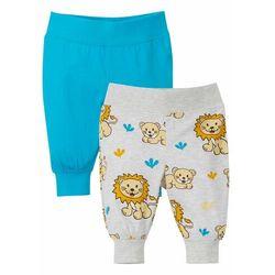 Spodnie shirtowe niemowlęce (2 pary), bawełna organiczna bonprix naturalny melanż + turkusowy