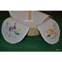 Serwetki, Serwetka ręcznie haftowana do koszyczka, motyw wielkanocny kurczak i zając