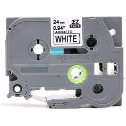 Taśma do brother tze-355 czarne tło /biały nadruk 24mm x 8m zamiennik