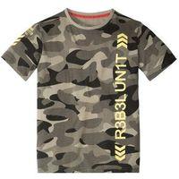 Koszulki z krótkim rękawkiem dziecięce, T-shirt moro bonprix khaki moro z nadrukiem