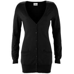Długi sweter rozpinany bonprix czarny