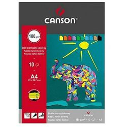 Blok techniczny A4 Canson kolorowy 10 arkuszy 180g/m2