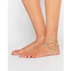 ASOS Multirow Faux Pearl & Charm Anklets - Cream