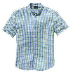 Koszula z kory z krótkim rękawem Regular Fit bonprix zielono-niebieski w kratę