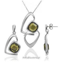 ankabizuteria.pl Komplet srebrny rodowany z piękna oliwkową cyrkonia