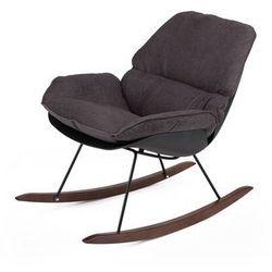 Fotel bujany nowoczesny NINO BLACK - tkanina ciemnoszara, płozy bukowe brązowe