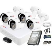 Zestawy monitoringowe, Zestaw do monitoringu 4 kamery IR 30m Rejestrator Hikvision FullHD Dysk 1TB