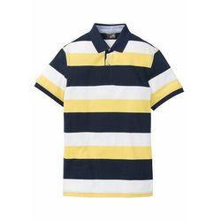 Shirt polo w paski bonprix ciemnoniebiesko-żółty ananasowy - biały w paski