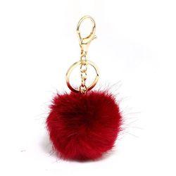Breloczek - pomponik do torebki lub kluczy bordowy - bordowy