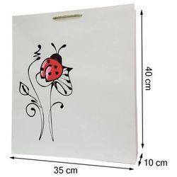Torebka ozdobna prezentowa ręcznie malowana 40x35 - biedronka