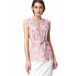 Urocza różowa bluzka bez rękawów - grochy - B112