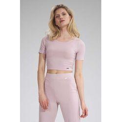 Krótka dopasowana bluzka - różowa