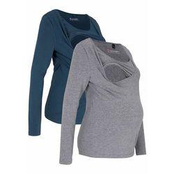 Shirt ciążowy i do karmienia piersią (2 szt.) bonprix szary melanż + ciemnoniebieski