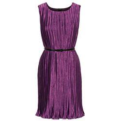 Sukienka plisowana z paskiem bonprix jeżynowy