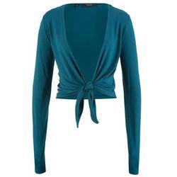 Bolerko shirtowe wiązane, długi rękaw bonprix niebieskozielony