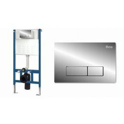Rea stelaż podtynkowy do WC z przyciskiem spłukującym H chrom REA-E0014