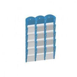 Plastikowy uchwyt ścienny na ulotki - 3x5 A5, niebieski
