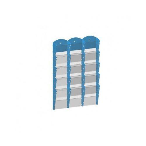 Ramy,stojaki i znaki informacyjne, Plastikowy uchwyt ścienny na ulotki - 3x5 A5, niebieski