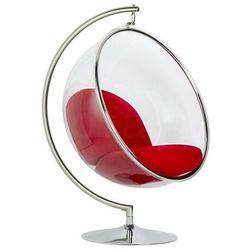 Fotel BUBBLE STAND poduszka czerwona - podstawa chrom, korpus akryl, poduszka wełna