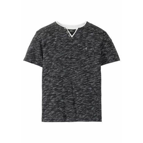 T-shirty męskie, T-shirt melanżowy 2 w 1 bonprix czarny melanż