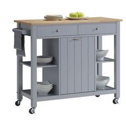 Barek kuchenny na kółkach HALEY - 1 szafka z drzwiczkami i 2 szuflady - Kauczukowiec