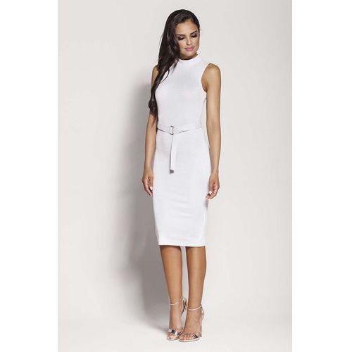 Suknie i sukienki, Biała Elegancka Ołówkowa Sukienka z Połyskiem
