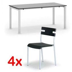 Stół konferencyjny AIR 1600 x 800 mm, szary + 4x krzesło LINDY GRATIS, czarny