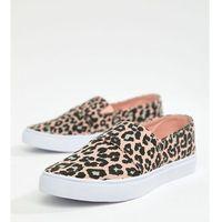Damskie obuwie sportowe, ASOS DESIGN Dodger Plimsolls in leopard print - Multi