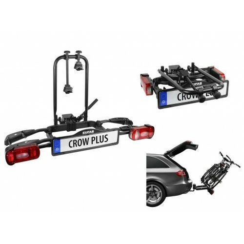 Bagażniki rowerowe do samochodu, Składany uchylny bagażnik na rowery EUFAB CROW PLUS rozszerzalny uchwyt na hak