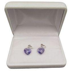 Kolczyki srebrne z fioletowym kryształem w kształcie serca o długości 3 cm SKK10