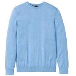 Sweter z okrągłym dekoltem i kaszmirem bonprix jasnoniebieski melanż