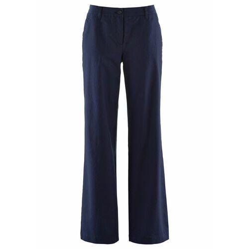 Spodnie damskie, Spodnie lniane Loose Fit z wygodnym paskiem bonprix ciemnoniebieski