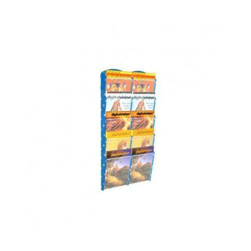 Ramy,stojaki i znaki informacyjne, Plastikowy uchwyt ścienny na ulotki - 2x5 A5, niebieski
