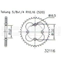 Zębatka tylna stalowa JT 50-32116-36, 36Z, rozmiar 520 2302571 Kymco Maxxer 300