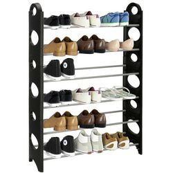 Regał na buty z metalowymi 6 półkami szafka czarno-szara