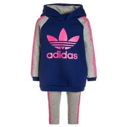adidas Originals SET Bluza z kapturem mystery ink/medium grey heather/solar pink