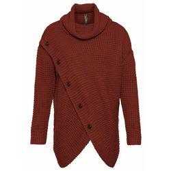 Sweter z golfem bonprix beżowy melanż