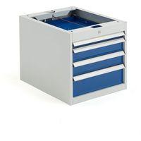 Szafki warsztatowe, Szafka narzędziowa SOLID, do stołu roboczego, 4 szuflady, 540x535x670 mm