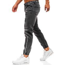Spodnie jeansowe joggery męskie antracytowe Denley 2042